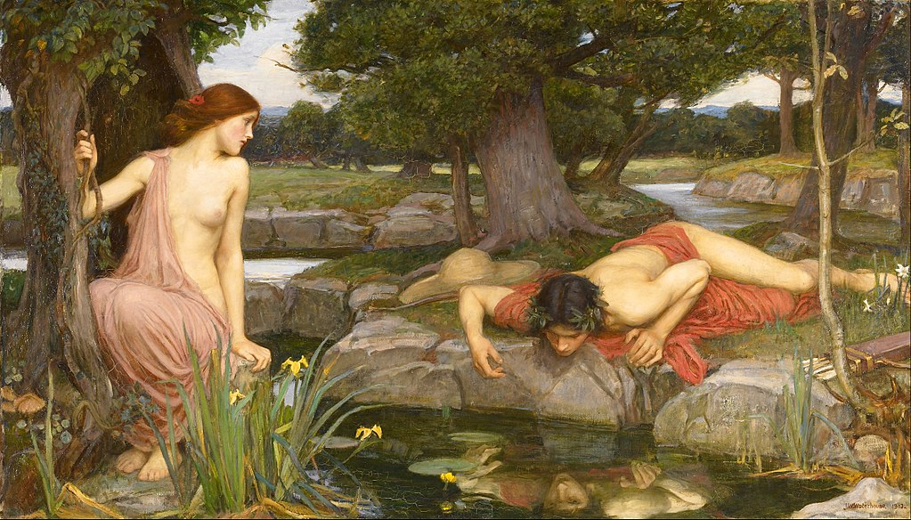 Narcissus gazes at his reflection while Echo watches on.
